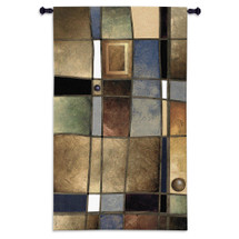Mixed Intervals Ii By T. C. Stuart  - Woven Tapestry Wall Art Hanging For Home Living Room & Office Decor - Abstract Geometric Design And Colors - 100% Cotton - USA 52X31 Wall Tapestry