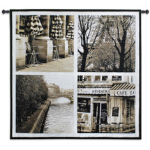 Parisian Moments By - Woven Tapestry Wall Art Hanging For Home Living Room & Office Decor - Four Parisian Photograph Scenes - 100% Cotton - USA 52X52 Wall Tapestry