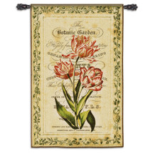 Botanical Garden I   Woven Tapestry Wall Art Hanging   Vibrant Old World Flowers on Parchment   100% Cotton USA Size 53x34 Wall Tapestry