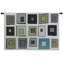 Hip to Be Square | Woven Tapestry Wall Art Hanging | Minimalist Contemporary Square Geometry Array | 100% Cotton USA Size 53x38 Wall Tapestry