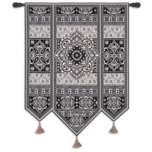 Masala Licorice | Woven Tapestry Wall Art Hanging | Eastern India Inspired Motif in Beiges and Grays | 100% Cotton USA Size 67x53 Wall Tapestry