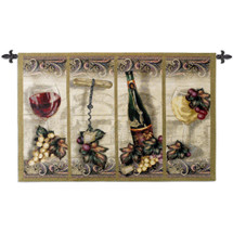 Nouveau Wine | Woven Tapestry Wall Art Hanging | Scrolled Panel Wine Artwork – Great for Wine Cellar | 100% Cotton USA Size 53x35 Wall Tapestry