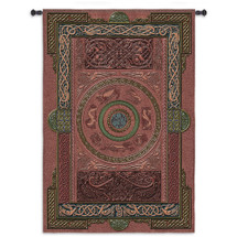 Ashling | Woven Tapestry Wall Art Hanging | Medieval Leatherized Celtic Knot Motif European Artwork | 100% Cotton USA Size 80x53 Wall Tapestry