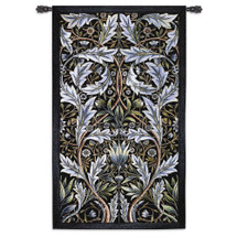 Panel Of Tiles - Woven Tapestry Wall Art Hanging - Filigree Pattern Of Powder Blue With Background Of Dark Green - 100% Cotton - USA 82x53 Wall Tapestry
