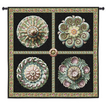 Fine Art Tapestries Rosettes On Black Hand Finished European Style Jacquard Woven Wall Tapestry USA 53X53 Wall Tapestry