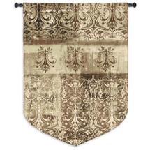 Abstract Damask Flax   Woven Tapestry Wall Art Hanging   Chandelier Silhouettes on Ornate Pattern   100% Cotton USA Size 63x43 Wall Tapestry