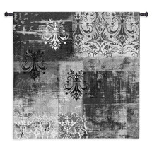 Abstract Damask Brushed Square | Woven Tapestry Wall Art Hanging | Chandelier Silhouettes on Ornate Pattern | 100% Cotton USA Size 53x53 Wall Tapestry