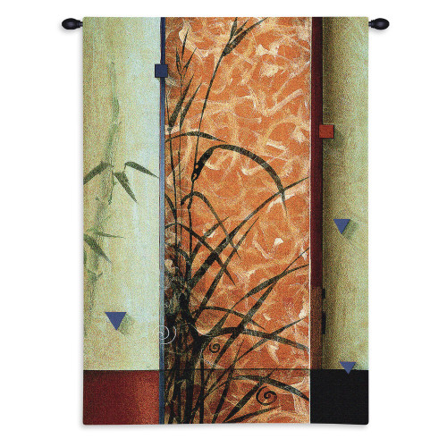 Garden Spirits II by Don Li-Leger | Woven Tapestry Wall Art Hanging | Abstract Asian Fusion Floral Geometry Panel Design | 100% Cotton USA Size 45x30 Wall Tapestry