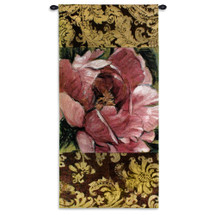 Summer's Bounty | Woven Tapestry Wall Art Hanging | Gorgeous Blooming Pink Flower on Damask | 100% Cotton USA Size 55x26 Wall Tapestry