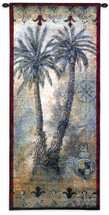 Masoala Panel I by Jill O'Flannery - Woven Tapestry Wall Art Hanging for Home & Office Decor - Two Tropical West Indies Palm Trees Intricate Colonial Themed - 100% Cotton-USA 53X22 Wall Tapestry