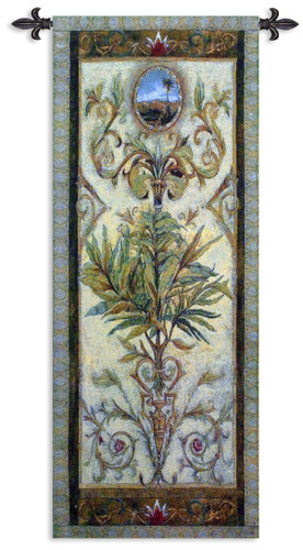 Textured View I by Douglas | Woven Tapestry Wall Art Hanging | Intricate Tropical Foliage Scrolling Artwork | 100% Cotton USA Size 53x17 Wall Tapestry