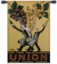 Union by Robys | Woven Tapestry Wall Art Hanging | Vintage French Wine Poster Advertisement | 100% Cotton USA Size 53x37 Wall Tapestry