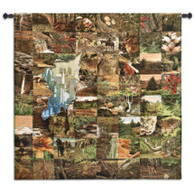 Glimpse | Woven Tapestry Wall Art Hanging | Rustic Outdoors Imagery Covering City | 100% Cotton USA Size 52x50 Wall Tapestry