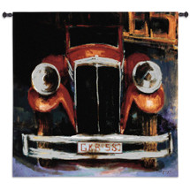 GKR 580 by Ana Perpinya | Woven Tapestry Wall Art Hanging | Vintage Classic Red Automobile | 100% Cotton USA Size 53x53 Wall Tapestry