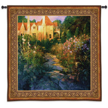 Garden Walk at Sunset by Philip Craig | Woven Tapestry Wall Art Hanging | European Villa Floral Garden Landscape | 100% Cotton USA Size 55x52 Wall Tapestry