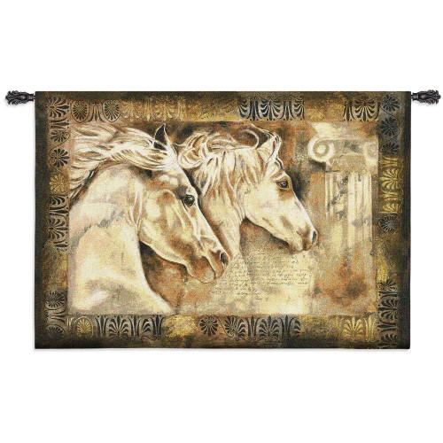 Messengers of Spirit by Annrika McCavitt | Woven Tapestry Wall Art Hanging | Horses Roman Greek Pillars | 100% Cotton USA size 53x36 Wall Tapestry