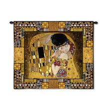The Kiss Captured By Gustav Klimt | Woven Tapestry Wall Art Hanging | Masterpiece Collage Iconic Romantic Modern Art | 100% Cotton USA 63X55 Wall Tapestry