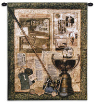 Fore I | Woven Tapestry Wall Art Hanging | Club over Vintage Historic Golfing Collage | 100% Cotton USA Size 32x27 Wall Tapestry