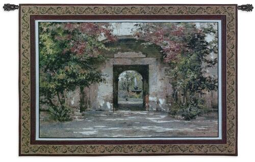 Flowered Doorway by Cyrus Afsary   Woven Tapestry Wall Art Hanging   Erene Path Flowered Arch Doorway Garden   100% Cotton USA Size 53x40 Wall Tapestry