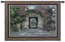 Flowered Doorway by Cyrus Afsary | Woven Tapestry Wall Art Hanging | Erene Path Flowered Arch Doorway Garden | 100% Cotton USA Size 53x40 Wall Tapestry