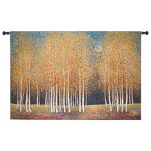 Golden Grove By Melissa Graves-Brown - Woven Tapestry Wall Art Hanging For Home Living Room & Office Decor - Nature Earthy Trees Forest With Autumn Colors - 100% Cotton - USA 36X53 Wall Tapestry