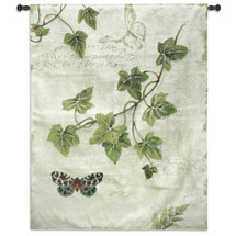 Ivies and Ferns II by Lisa Audit | Woven Tapestry Wall Art Hanging | Contemporary Fern and Butterflies on Cursive Parchment | 100% Cotton USA Size 52x40.5 Wall Tapestry