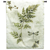 Ivies and Ferns III by Lisa Audit | Woven Tapestry Wall Art Hanging | Contemporary Fern and Dragonflies on Cursive Parchment | 100% Cotton USA Size 52x40.5 Wall Tapestry