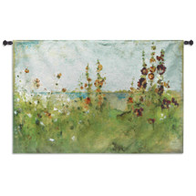 Hollyhocks by the Sea by Cheri Blum | Woven Tapestry Wall Art Hanging | Elegant Impressionist Blooming Coastal Flowers | 100% Cotton USA Size 52x34 Wall Tapestry