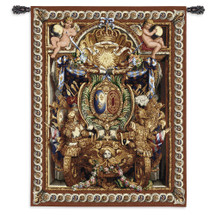 Portiere du Char de Triomphe by Charles Le Brun for Louis XIV   Woven Tapestry Wall Art Hanging   Greek God Apollo Golden Armor with Cherubs   100% Cotton USA Size 53x40 Wall Tapestry