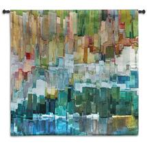 Glacier Bay III by James Burghardt | Woven Tapestry Wall Art Hanging | Mixed Color Composition Abstract | 100% Cotton USA Size 31x31 Wall Tapestry