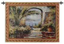 Rose Arch | Woven Tapestry Wall Art Hanging | Stunning Seaside View through Lush Floral Courtyard | 100% Cotton USA Size 53x38 Wall Tapestry