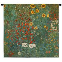 Farm Garden with Sunflowers by Gustav Klimt | Woven Tapestry Wall Art Hanging | Nature Mixed Sunflowers | 100% Cotton USA Size 30x30 Wall Tapestry