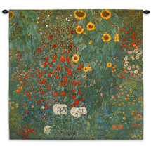 Farm Garden With Sunflowers By Gustav Klimt - Woven Tapestry Wall Art Hanging For Home Living Room & Office Decor - Nature Mixed Flower / Floral - 100% Cotton - USA Wall Tapestry