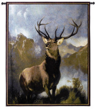Monarch Of The Glen By Sir Edwin Landseer | Woven Tapestry Wall Art Hanging | Majestic Deer Elk Wildlife Lodge Artwork | 100% Cotton USA Size 42x53 Wall Tapestry