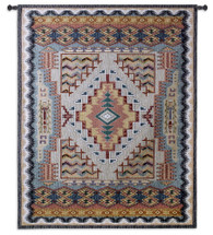 Southwest Turquoise | Woven Tapestry Wall Art Hanging | Native American Inspired Geometric Design | 100% Cotton USA Size 53x41 Wall Tapestry