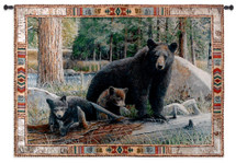 New Discoveries by Kevin Daniel | Woven Tapestry Wall Art Hanging | Contemporary Wildlife Mother Bear with Cubs | 100% Cotton USA Size 53x36 Wall Tapestry