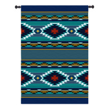 Balpinar | Woven Tapestry Wall Art Hanging | Blue Southwestern Native American Geometric Design | 100% Cotton USA Size 73x53 Wall Tapestry