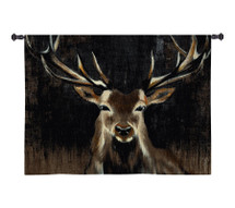 Young Buck | Woven Tapestry Wall Art Hanging | Wildlife Painting with Earth Tones | 100% Cotton USA Size 45x45 Wall Tapestry