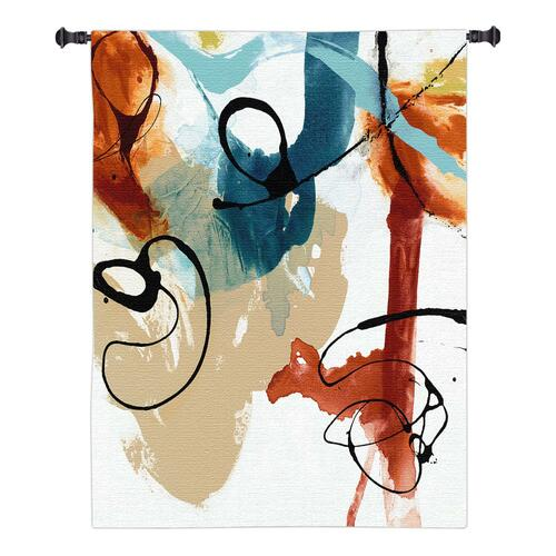 Fabricate I by Sisa Jasper | Woven Tapestry Wall Art Hanging | Rich Contemporary Splattered Paint Design | 100% Cotton USA Size 40x39 Wall Tapestry
