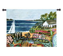 Nautical Whimsy II by Karen Fields | Woven Tapestry Wall Art Hanging | Abstract Coastal Home with Beautiful Vivid Garden | 100% Cotton USA Size 52x38 Wall Tapestry