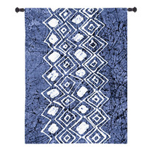 Indigo Primitive Patterns IV by Renee Stramel | Woven Tapestry Wall Art Hanging | Bold Expressionist White Design on Worn Cobalt | 100% Cotton USA Size 31x23 Wall Tapestry
