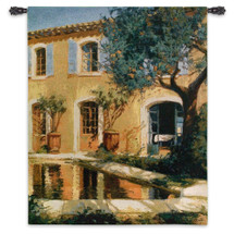 Estanque   Woven Tapestry Wall Art Hanging   Impressionist Sunny Villa with Reflective Pond   100% Cotton USA Size 53x46 Wall Tapestry