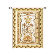 Sovereign Chablis | Woven Tapestry Wall Art Hanging | Royal Luxurious Archectural Design in Deep White and Gold | 100% Cotton USA Size 145x63 Wall Tapestry