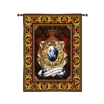 Ancestry | Woven Tapestry Wall Art Hanging | Luxurious French Royal Crest with Crowns and Jewels | 100% Cotton USA Size 110x90 Wall Tapestry