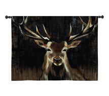 Young Buck | Woven Tapestry Wall Art Hanging | Wildlife Painting with Earth Tones | 100% Cotton USA Size 35x35 Wall Tapestry