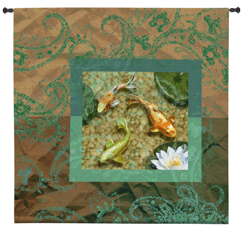Flirtation II   Woven Tapestry Wall Art Hanging   Serene Koi Pond with Lily Pads   100% Cotton USA Size 53x53 Wall Tapestry