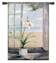 Ocean Amaryllis By Fabrice De Villeneuve - Woven Tapestry Wall Art Hanging For Home Living Room & Office Decor - Planter'S Pot Peaceful Blooms In Window Of Beach House Themes - 100% Cotton - USA 53X38 Wall Tapestry