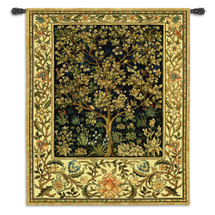 Tree of Life Midnight Blue by William Morris | Arts and Crafts Style Woven Tapestry Wall Art Hanging | Eternal Life Heaven Design in Indigo | 100% Cotton USA Size 74x53 Wall Tapestry