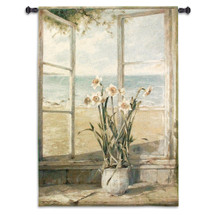 Ocean Narcissus By Fabrice De Villeneuve | Woven Tapestry Wall Art Hanging | Seascape Still Life Flower & Beach House | 100% Cotton USA Size 53X38 Wall Tapestry