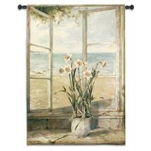 Ocean Narcissus by Fabrice de Villeneuve | Woven Tapestry Wall Art Hanging | Still Life Flower and Oceanside | 100% Cotton USA Size 53x38 Wall Tapestry